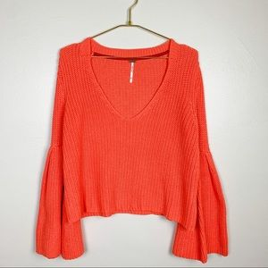 FREE PEOPLE Coral Damsel Ribbed Knit Sweater